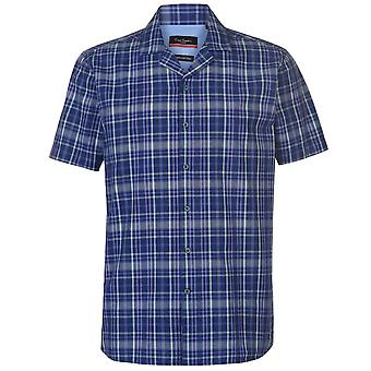 Pierre Cardin Mens Reverse verificar no máximo Casual de camisa de manga curta