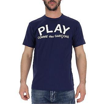 Comme Des Garçons Play P1t1761 Men's Blue Cotton T-shirt