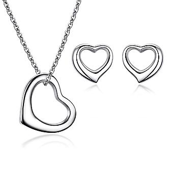 925 Sterling Silver Open Heart Solid Jewellery Set