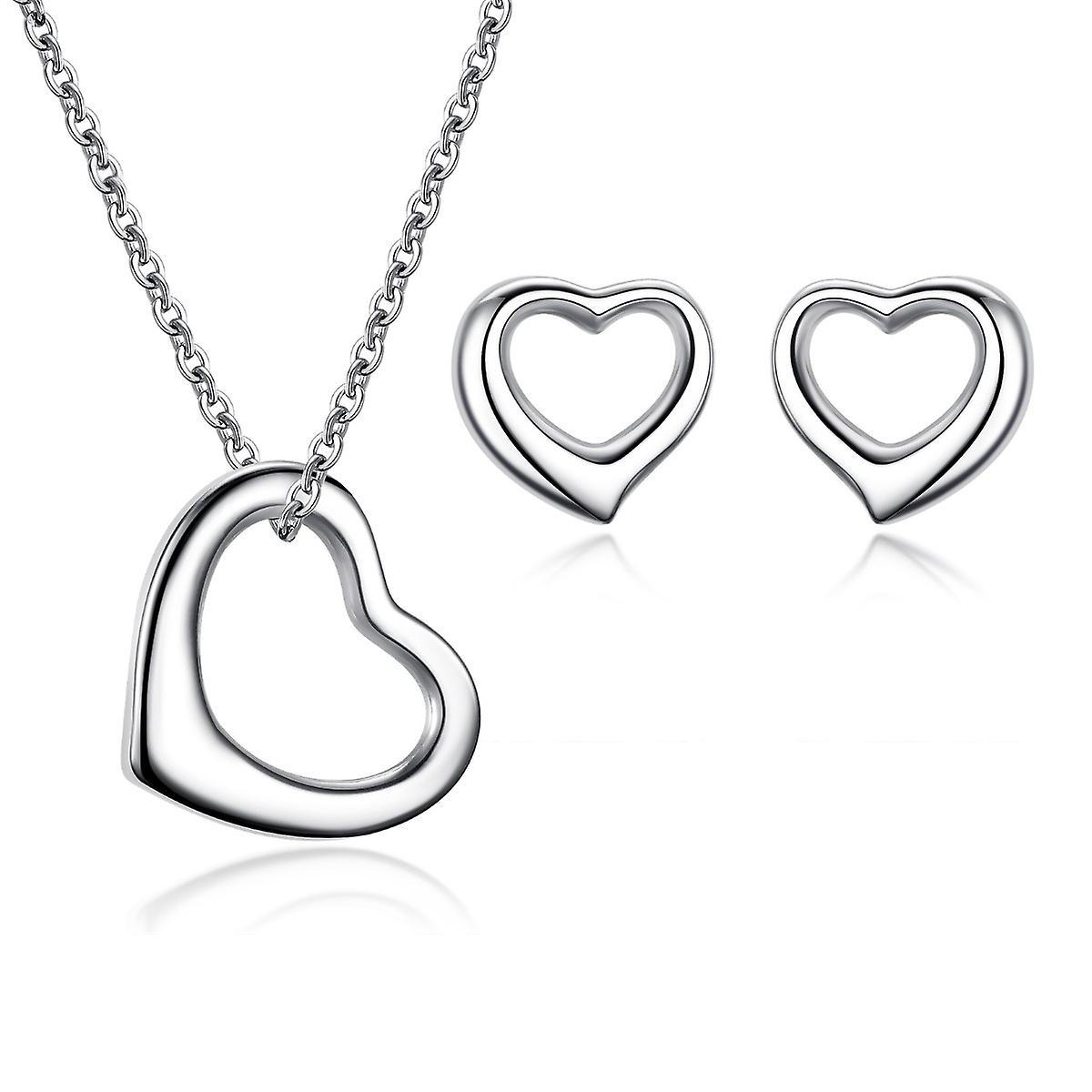 925 Sterling Silver Open Heart Solid Jewellery Set