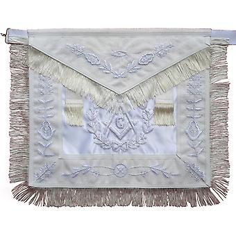 Masonic all white master mason apron with fringe