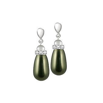 Eternal Collection Beaumont Hunter Green Glass Pearl Silver Tone Drop Pierced Earrings