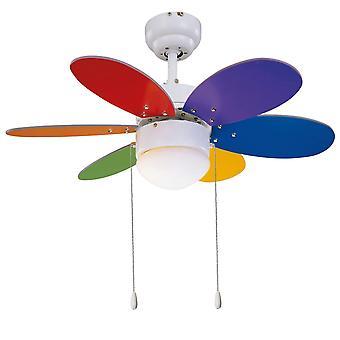 "Ceiling fan Rainbow Color 76cm / 30"" with light"