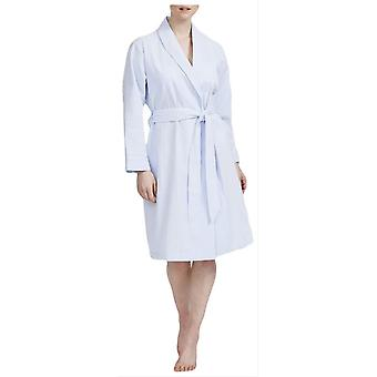 British Boxers Porthtowan Seersucker Mid Length Robe-Light Blue Blue