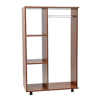 HOMCOM Open Wardrobe with Hanging Rail and Storage Shelves w/Wheels Bedroom