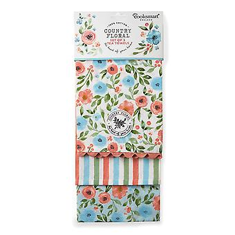Cooksmart Country Floral Pack of 3 Tea Towels