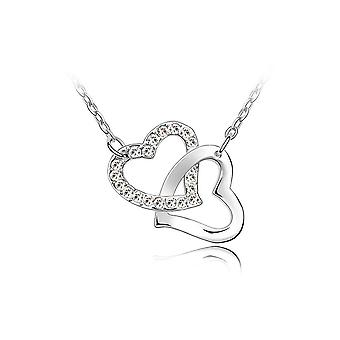 Double intertwined hearts necklace adorned with Swarovski White Crystal 1450