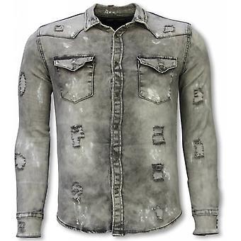 Denim Shirt-Slim Fit Damaged Allover-Grey