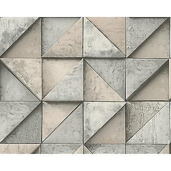 A.S. creatie als creatie stenen effect wallpaper driehoek vierkant patroon realistische getextureerde 306501