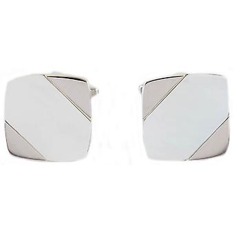David Van Hagen Diagonal Mother of Pearl Stone Cufflinks - Crème/Argent
