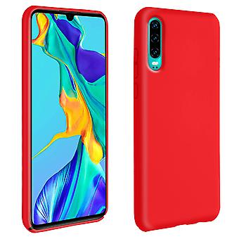 Caso semi-rígida do silicone de Huawei p30, revestimento matte do toque macio-vermelho