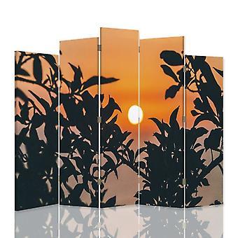 Divisor de habitación decorativa, 5 paneles, lona, sol para plantas
