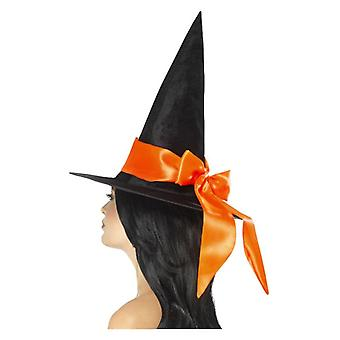 Sombrero de Bruja Deluxe, Negro, con Arco Naranja