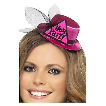 Sombrero del partido de gallina rosa para mujer con broche y velo