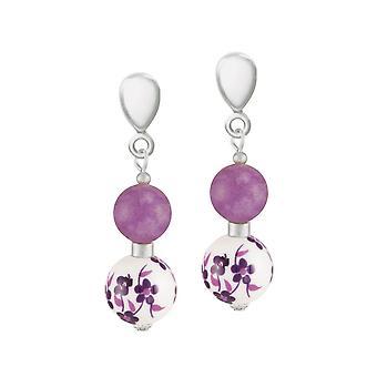 Eternal Collection Meadow Purple Floral Silver Tone Drop Screw Back Clip On Earrings