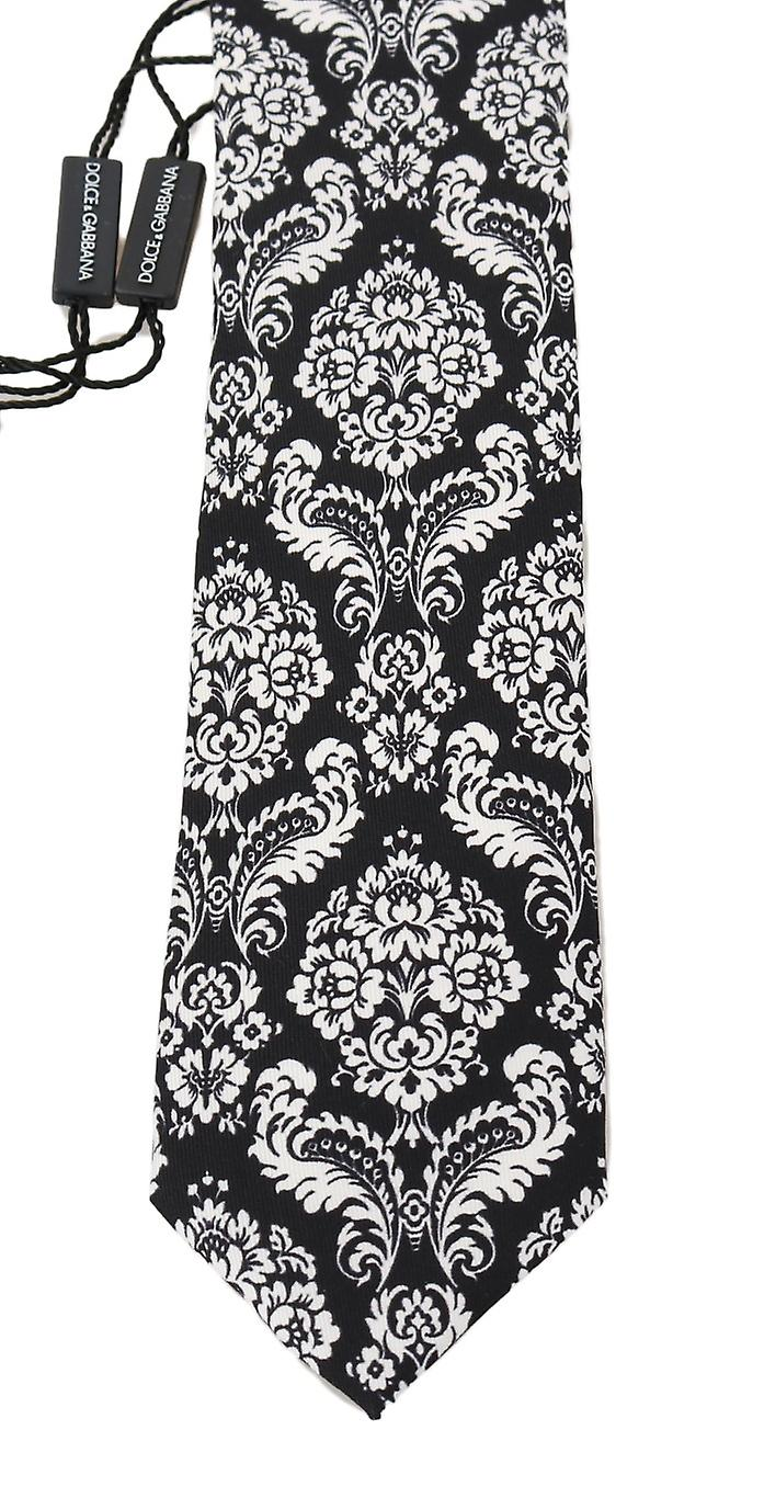 Black Silk White Floral Pattern Classic Tie