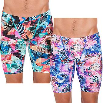 Speedo Mens Flipturns Allover stampa Mid Nuoto Piscina Sports Boxer Jammer