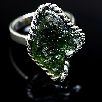Czech Moldavite Ring Size 8 Adjustable (925 Sterling Silver)  - Handmade Boho Vintage Jewelry RING978109