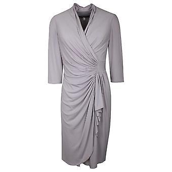 Ronald Joyce Grey French Jersey Drape Detail Dress
