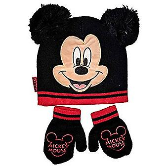 Beanie Cap - Disney - Mickey Mouse Face Black /Mittens Hat 403857