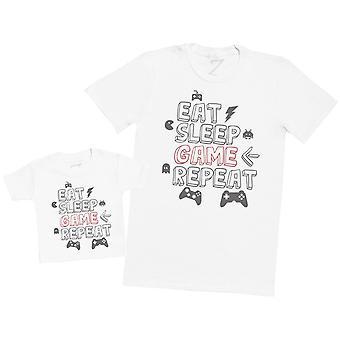 Eat Sleep Game Repeat - Mens T Shirt & Kid's T-Shirt