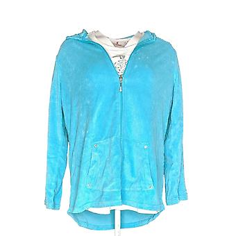 Quacker Factory Women's Top Hoodie & Embellished Tee Blue/ White A276752