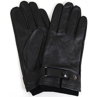革バイカー スタッド手袋 - ブラック