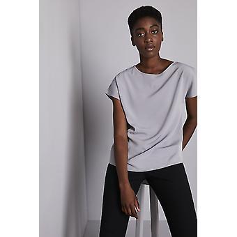 SIMON JERSEY Women's Essentials Slash Neck Blouse, Pale Grey
