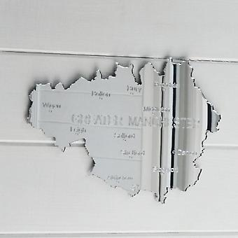 County Map of GREATER MANCHESTER UK Engraved Acrylic Mirror