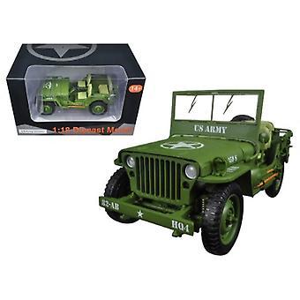 US Army WWII Jeep Vehicle Green 1/18 Diecast Modellauto von American Diorama