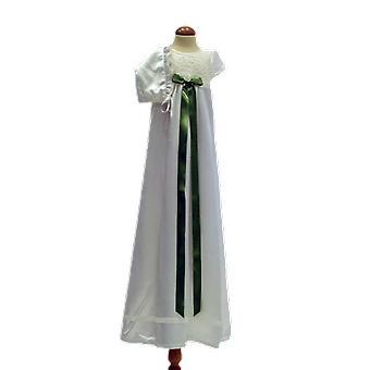 Dopklänning Och Dophätta I Off White Satin, Ljusgrön Rosett    Ma.ow.