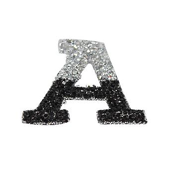 Black and Silver Double Glitter Alphabet Sticker - A