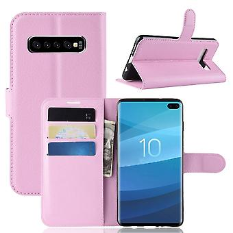 For Samsung Galaxy S10 Case, Wallet Leather Folio Flip Cover with Stand Pink