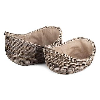 Set of 2 Boat Shaped Rattan Log Basket with Hessian Lining