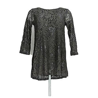 Joan Rivers Classics Collection Women's Top (XXS) Lace Gray A297991