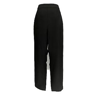Dennis Basso Donne's Pantaloni Luxe Crepe Slim Leg Pull On Ankle Nero A345561
