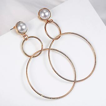 Cercei cu dublu hoop gold și pearl
