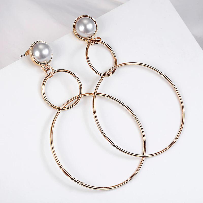 Double Hoop Gold and Pearl Earrings