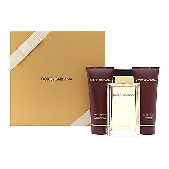 Dolce & Gabbana pour Femme für Frauen 3 Stück Set enthält: 3,3 oz Eau de Parfum Spray + 3,3 oz parfümierte Körperlotion + 3,3 Oz Duschgel