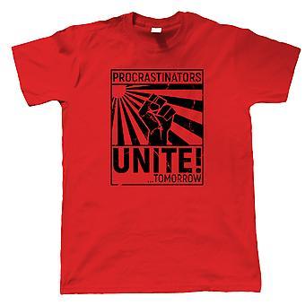 Procrastinators Unite Funny Slogan Soviet Propaganda, Mens T-Shirt Gift Him Dad