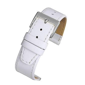 Calf leather watch strap white stitched with chrome buckle size 12mm to 22mm