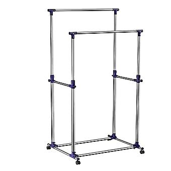 Mobile clothing rack with 2 rods - adjustable in height - silver/ blue