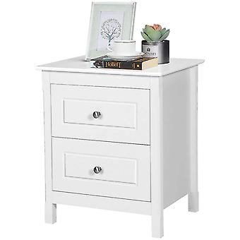Shabby Chic Bedside Table White 2-Drawer Rectangular Small Sofa Side End Table Nightstand for Bedroom/Living Room
