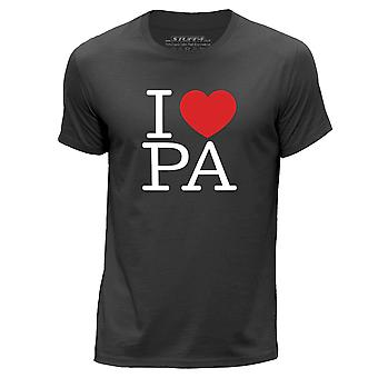 STUFF4 Men's Round Neck T-Shirt/I Heart PA / Love Pennsylvania/Dark Grey