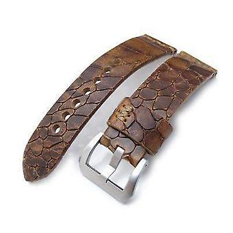 Strapcode crocodile grain watch strap miltat zizz collection 24mm cracked croco middle brown watch strap, brown stitching