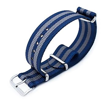 Strapcode n.a.t.o watch strap miltat 18mm, 20mm or 21mm g10 military watch strap ballistic nylon armband, polished - navy & grey