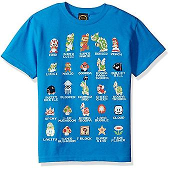 Nintendo Little Boys Pixel 9 Cast Graphic T-shirt, Turquoise, YXS