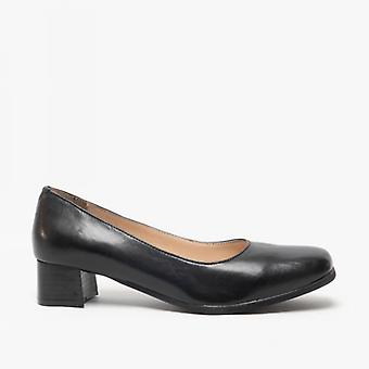 Amblers Walford Ladies Block Leather Court Shoes Black