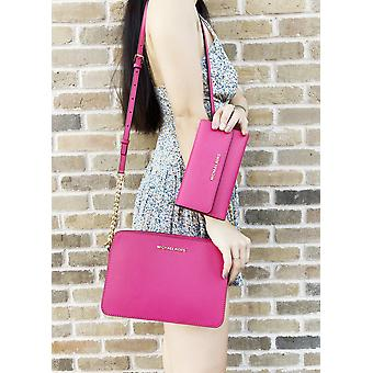 Michael kors jet set large east west crossbody electric pink + trifold wallet