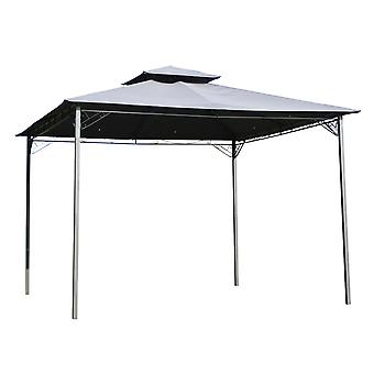Outsunny 3x3(m) Outdoor Patio Gazebo Steel Canopy Tent Pavilion 2-Tier Roof Top Garden Sunshade Grey